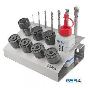 Produktbild seitlich: Metall-Werkstattständer mit QC-Adapter, Schnellwechsleinsätzen und passende Maschinen-Gewindebohrer Artikelnumer 00666