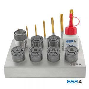 Produktbild frontal: Metall-Werkstattständer mit QC-Adapter, Schnellwechsleinsätzen und passende Maschinen-Gewindebohrer Artikelnumer 00666