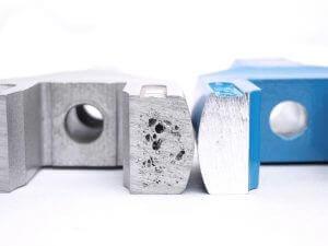 Vergleichsbild und Querschnitt der Lunker in den alten und neuen Haltewerkzeugen